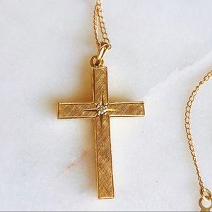 Jewelry - 14K Gold Vintage Diamond Cross Necklace